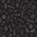 Seamless vector pattern of different types of pasta on a black background Royalty Free Stock Image
