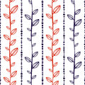 Seamless vector pattern, endless background with ornamental decorative elements in the shape of branch with leaves and dotted line Royalty Free Stock Photo