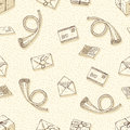 Seamless Vector Pattern with Envelopes, Letters and French Post Horns Royalty Free Stock Photo