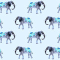 Seamless vector pattern with ethnic elephants. Texture for wall