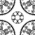 Seamless texture with round ornaments in monochrome