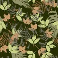 Seamless vector pattern with fern and autumn leaves. Background in a camouflage style Royalty Free Stock Photo