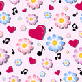 Seamless vector pattern of flowers, red hearts and musical notes. Festive background for Valentine`s Day.