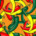 Seamless vector pattern with fresh ripe chili peppers green yellow and red Royalty Free Stock Photography