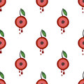 Seamless vector pattern with fruits. Symmetrical background with cherries and leaves on the white backdrop Royalty Free Stock Photo