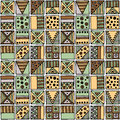 Seamless vector pattern. Geometrical background with hand drawn decorative tribal elements in vintage brown colors. Print with eth