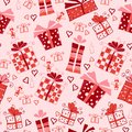 Seamless vector pattern with gift boxes romantic present Royalty Free Stock Photography
