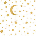 Seamless vector pattern with golden stars, moon on white Royalty Free Stock Photo