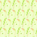 Seamless vector pattern, green floral symmetrical background with leaves and grass Royalty Free Stock Photo