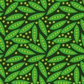 Seamless vector pattern with green peas and pods on dark background