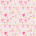 Seamless vector pattern with grunge hearts and dots. Love background for Valentine`s day. Royalty Free Stock Photo