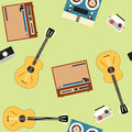 Seamless vector pattern with guitars and players on the light green background. Royalty Free Stock Photo