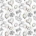 Seamless vector pattern with hand drawn air balloons, bows, gifts, cake, candy on the white background.