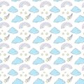 Seamless vector pattern with hand drawn clouds and rainbows.