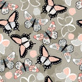 Seamless vector pattern with hand drawn colorful butterflies Royalty Free Stock Photo