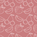 Seamless vector pattern with hand drawn fruits. Background with watermelons, srawberries and cherries. Royalty Free Stock Photo