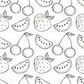 Seamless vector pattern with hand drawn fruits. Black and white Background with watermelons, srawberries and cherries. Royalty Free Stock Photo