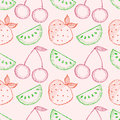 Seamless vector pattern with hand drawn fruits. Colorful Background with watermelons, srawberries and cherries. Royalty Free Stock Photo