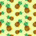 Seamless vector pattern. Hand drawn fruits illustration of colorful pineapple with splash and drop, on the yellow background.