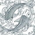 Seamless vector pattern with hand drawn Koi fish (Japanese carp), waves. Royalty Free Stock Photo