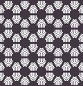 Seamless vector pattern. Hand drawn mosaic tile shapes. Repeating geo floral background. Monochrome surface design textile swatch