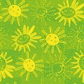 Seamless vector pattern with happy suns and sunflowers