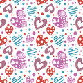 Seamless vector pattern with hearts. Background with different colorful hand drawn ornamental Royalty Free Stock Photo