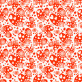 Seamless vector pattern with hearts. Background with red hand drawn ornamental
