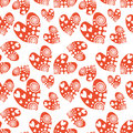 Seamless vector pattern with hearts. Background with red hand drawn ornamental symbols on the white. Decorative repeating ornament