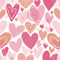 Seamless vector pattern with hearts. Love background for Valentine`s day. Seamless bright romantic design for fabric or wrap paper Royalty Free Stock Photo