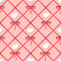 Seamless vector pattern with hearts and ribbons. Can be used for wallpaper, pattern fills, web page background, fabric