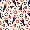 Seamless vector pattern ice cream, bagel, baklava, dondurma, candy cartoon illustration isolated on yellow background Royalty Free Stock Photo