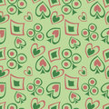 Seamless vector pattern with icons of playings cards. Background with hand drawn symbols and dots on green backdrop. Royalty Free Stock Photo