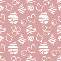 Seamless vector pattern with icons of playings cards. Background with white hand drawn symbols on the pink backdrop. Royalty Free Stock Photo