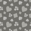 Seamless vector pattern with icons of playings cards. Grey background with hand drawn symbols. Decorative repeat ornament. Series Royalty Free Stock Photo