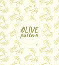 Seamless vector pattern ink drawn olive branch Royalty Free Stock Photo