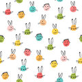Seamless vector pattern with an ink rabbit emoticons, and the boy`s face. Abstract hand craft grunge splattered ornament