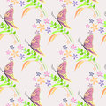 Seamless vector pattern with insects, background with colorful butterflies, flowers and branches with leaves over light backdrop Royalty Free Stock Photo