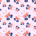 Seamless vector pattern with insects, background with red and blue decorative ornamental beautiful butterflies Royalty Free Stock Photo