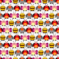 Seamless vector pattern with insects. Cute background with colorful comic butterflies, ladybugs, colorado beetles and bees Royalty Free Stock Photo