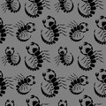 Seamless vector pattern with insects, dark chaotic background with closeup scorpions