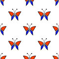 Seamless vector pattern with insects, symmetrical background with blue and red butterflies. Decorative repeating ornament Royalty Free Stock Photo