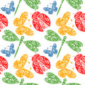 Seamless vector pattern with insects symmetrical background with decorative dragonflies ladybugs and butterlies on the white Royalty Free Stock Photo