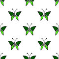 Seamless vector pattern with insects, symmetrical background with green butterflies. Decorative repeating ornament Royalty Free Stock Photo