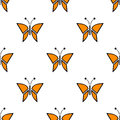 Seamless vector pattern with insects, symmetrical background with red butterflies. Decorative repeating ornament Royalty Free Stock Photo