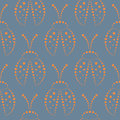 Seamless vector pattern with insects symmetrical background with red decorative closeup ladybugs on the blue backdrop series of Royalty Free Stock Images