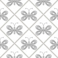 Seamless vector pattern with insects, symmetrical black and white background with butterflies. Decorative ornament Royalty Free Stock Photo