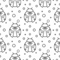 Seamless vector pattern with insects, symmetrical  black and white background with ladybugs and dots Royalty Free Stock Photo