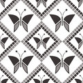 Seamless vector pattern with insects, symmetrical geometric grey background with butterflies. Decorative repeating ornament Royalty Free Stock Photo