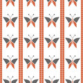 Seamless vector pattern with insects, symmetrical geometric red background with butterflies. Decorative repeating ornament Royalty Free Stock Photo